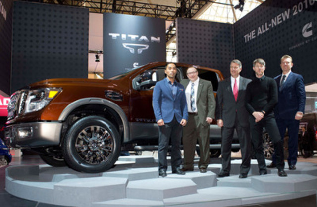 Next-generation Nissan TITAN XD with (pictured right-to-left) Christian Meunier, President, Nissan Canada Inc.; Stephen Moneypenny Senior Designer, Nissan Design America; Jeff Caldwell, Cummins General Manager, Global Pickup Business; Rich Miller, Director of Product Planning for all trucks and SUVs, Nissan North America; and Randy Rodriguez, Project Lead Designer, Nissan Design America. (CNW Group/Nissan Canada Inc.)