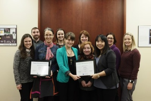 From left to right: Kaleigh Maclaren, VP Partnerships, Bryant McNamara, VP Membership, Avra Gibbs Lamey, VP Leadership Development, Gillian Magnusson, Executive Secretary, Anastasia Smolentseva, VP Professional Development, Sherrilynne Starkie, President, Stacey Diffin-Lafleur, VP Certification, Sharon Cheung, VP Professional Development, Tara Lapointe, Past President, Dominique Jolicoeur, Executive Vice-President (CNW Group/IABC/Ottawa)