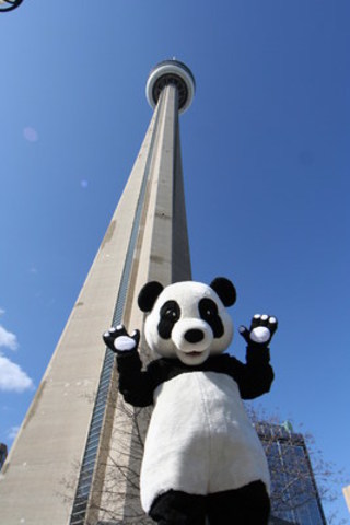 WWF-Canada panda mascot in front of the CN Tower. (CNW Group/WWF-Canada)