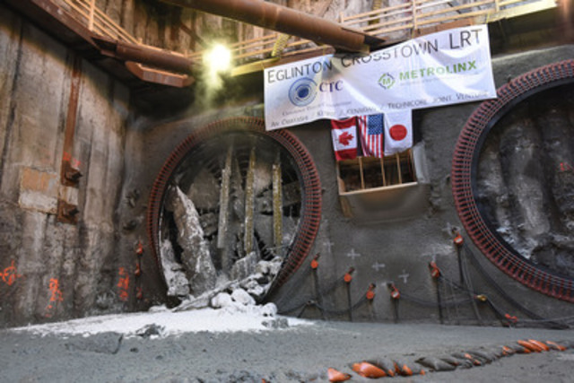 The Eglinton Crosstown LRT project hit a milestone on Jan 21, 2015. The West Tunnel TBMs broke through into the extraction shaft at Allen Road. That means the tunneling from Black Creek to Allen Road is complete. (CNW Group/Metrolinx)