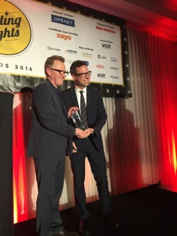 Accedian founder and CEO Patrick Ostiguy (right), accepts the 2016 Leading Lights Award for Outstanding Test and Measurement Vendor at an awards ceremony on May 23rd in Austin, Texas. (CNW Group/Accedian Networks Inc.)