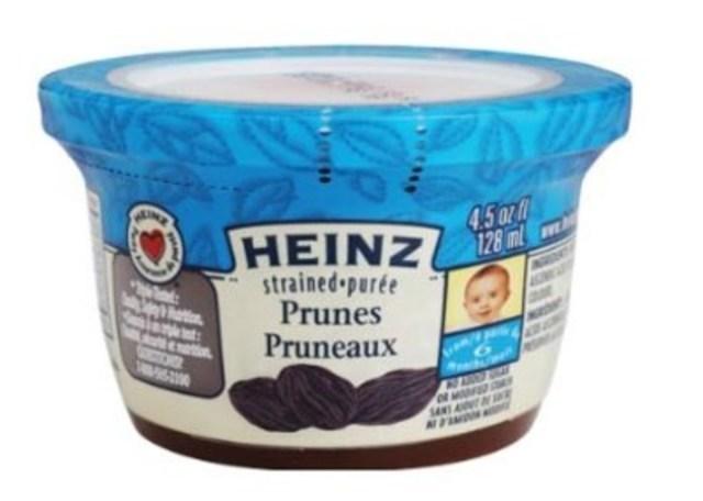 Avis de rappel d'aliments - Purée - pruneaux de marque Heinz pourraient être dangereux en raison de la présence possible de morceaux de caoutchouc (Groupe CNW/Agence canadienne d'inspection des aliments)