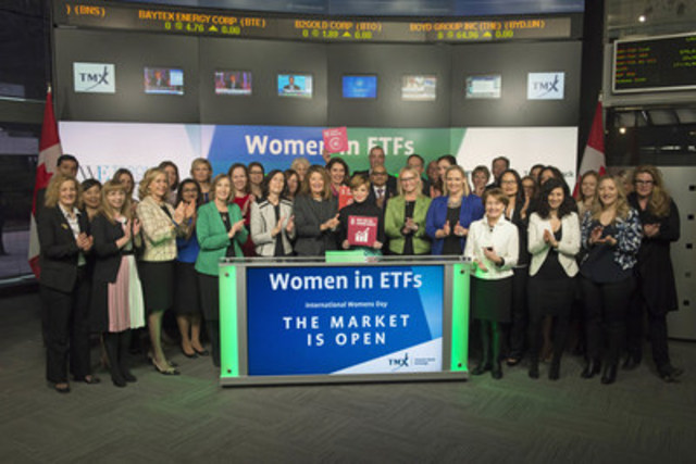Colleen Moorehead, Chief Client Officer, Osler, Hoskin & Harcourt LLP, joined Tanya Rowntree, Vice-President, Regional Sales, TMX Equity Transfer Services and Co-Chair of the Canadian Chapter of Women in ETFs to open the market to celebrate International Women's Day. For the second year in a row, Women in ETFs (WE) has partnered with UN Global Compact, Sustainable Stock Exchanges Initiative, UN Women, IFC, and The World Federation of Exchanges to host events across the globe during the week of March 7th to raise awareness about the importance of gender equality to sustainable development and business. Bell ringing ceremonies will take place at 34 exchanges globally and WE will lead events in the United States, Canada, Europe and Asia. Women in ETFs is the first women's group for the ETF industry. The organization seeks to create opportunities for professional advancement by expanding connections among women in the industry, and offering guidance for the current and next generation. (CNW Group/TMX Group Limited)