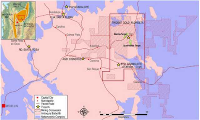 Figure 1 - Overview of Marquesa Portfolio of Properties (CNW Group/Trident Gold Corp.)