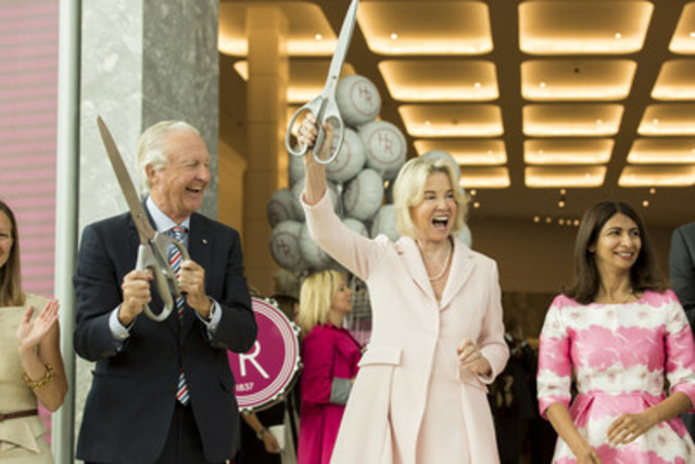 Holt Renfrew opens its newest location at Square One in Mississauga on July 28. W. Galen Weston and the Hon. Hilary M. Weston along with Provincial Minister, MPP Mississauga-East Cooksville, Dipika Damerla host the opening day ribbon cutting. (CNW Group/Holt Renfrew)