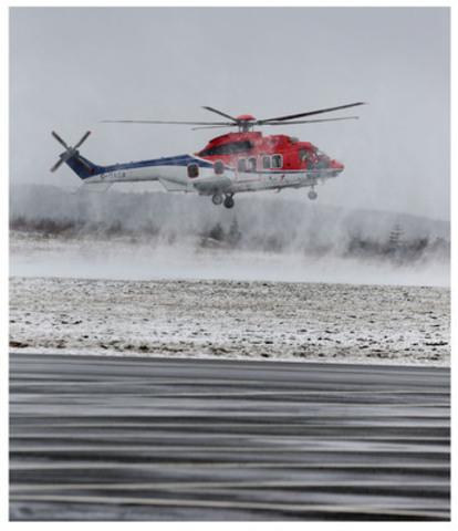 Eurocopter's EC225, considered the workhorse of the oil and gas industry, seen flying off the coast of Newfoundland. Eurocopter Canada brought the EC225 to St. John's from the North Sea this week to showcase its safety features and performance to the local oil and gas industry. (CNW Group/Eurocopter Canada Limited)