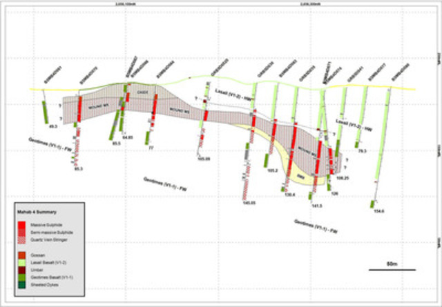 FIGURE 2- Mahab 4 geological long section showing drill holes, geological interpretation and mineralised intervals. (CNW Group/Gentor Resources Inc.)