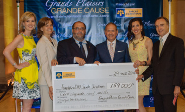 Pictured from left to right: Stéfanie Pelletier, Laurentian Bank Vice-President of Finance and event Treasurer, Anièle LeCoq, Executive Director of the CHU Sainte-Justine Foundation, Tony Migliara, Laurentian Bank Senior Vice-President of Real Estate and Honorary President of the event, John Faratro, Founder of Un-Wined for a Cause, Dr. Annie Lapointe, ENT surgeon at the Hospital ans Dr Fabrice Brunet, Executive Director of CHU Sainte-Justine. (CNW Group/Laurentian Bank of Canada)