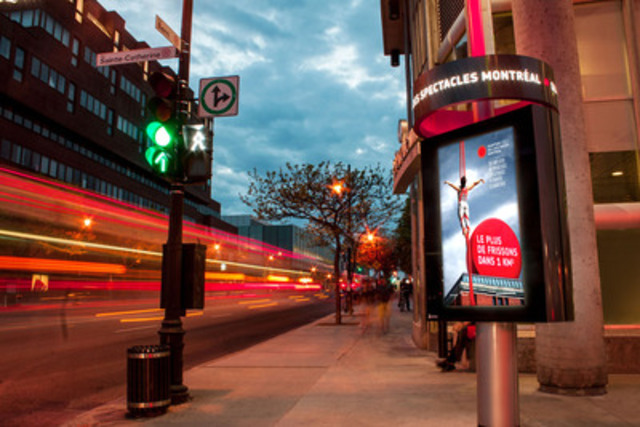 An Astral Out-of-Home Digital column in the Quartier des Spectacles (CNW Group/Bell Media) (CNW Group/Astral Out-of-Home)
