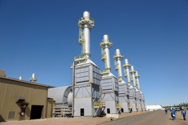 Steam generators at Cenovus's Foster Creek project in northern Alberta. The project uses a process called steam-assisted gravity drainage (SAGD) to produce oil, which involves drilling into the reservoir and injecting steam at a low pressure to soften the oil so it can be pumped to the surface. (CNW Group/Cenovus Energy Inc.)