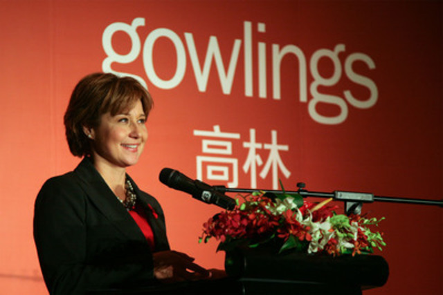 """BC Premier Clark speaking at the opening of Gowlings International Inc. Representative Office in Beijing: """"a clear sign of the immense opportunities resulting from growing bilateral trade and investment flows with China"""" (CNW Group/Gowlings International Inc.)"""