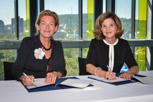 Susanne Stolte, President of the Board of Directors de l'HTH et l'honorable Liza Frulla, C.P., O.Q., directrice générale de l'ITHQ (Groupe CNW/Institut de tourisme et d'hôtellerie du Québec)