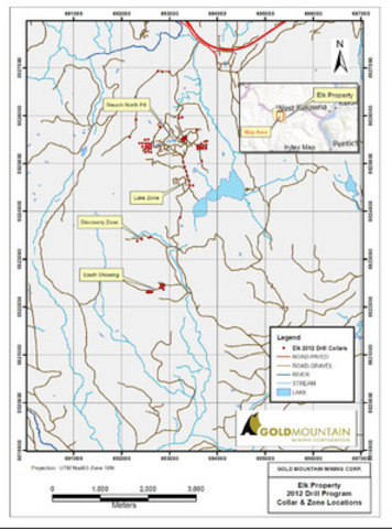 Elk Property 2012 Drill Program Collar & Zone Locations (CNW Group/Gold Mountain Mining Corporation)