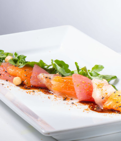 The signature Salmon, Hamachi, and Albacore Tuna Carpaccio will be available for passengers to enjoy starting next week in Terminal 3 at Acer. (CNW Group/Toronto Pearson International Airport)