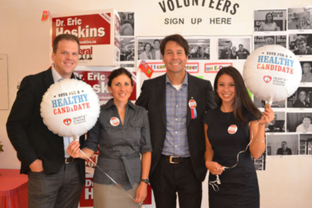 Healthy Candidates Ambassador, Dr. Eric Hoskins with Jennifer Alami - HSF volunteer, Mark Holland, Nadia Formigoni (CNW Group/Heart and Stroke Foundation)