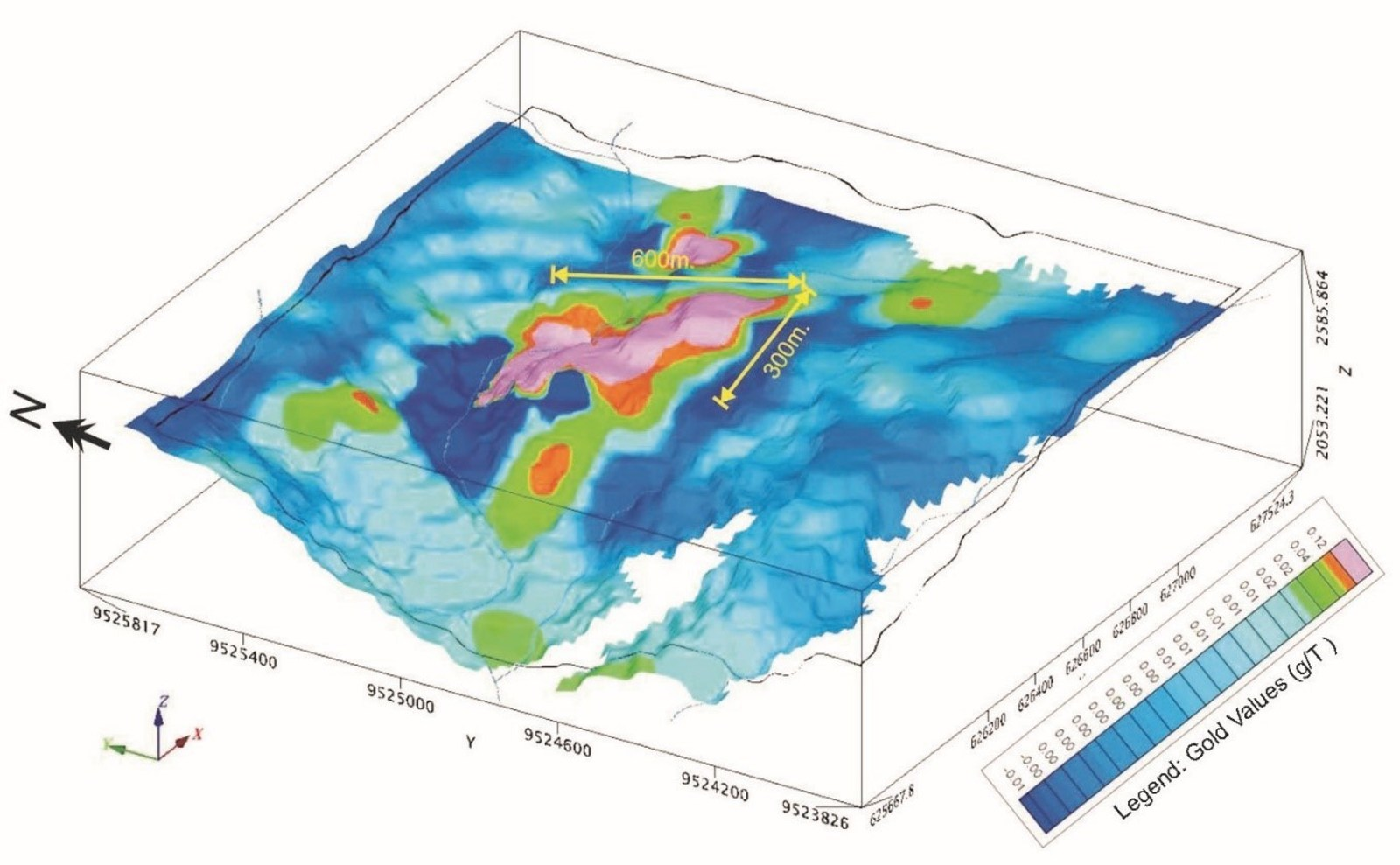 Figure 2. 3D map of gold in soils, highlighting a robust geochemical anomaly at Macara, Ecuador