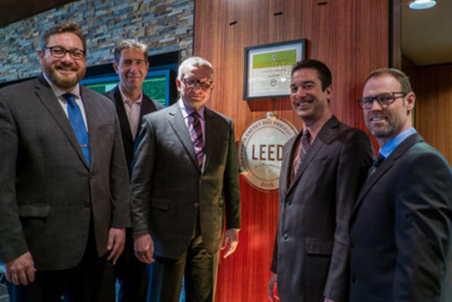 Brantford, ON - February 17, 2016. OLG Brantford, becomes LEED Silver Certified, left to right Mayor Chris Friel, Bullfrog Power CEO, Ron Seftel, OLG President & CEO Stephen Rigby, Eddy Day, General Manager OLG Casino Brantford, Stephen Hill, Director Capital Projects, OLG. Mark Spowart (CNW/OLG)