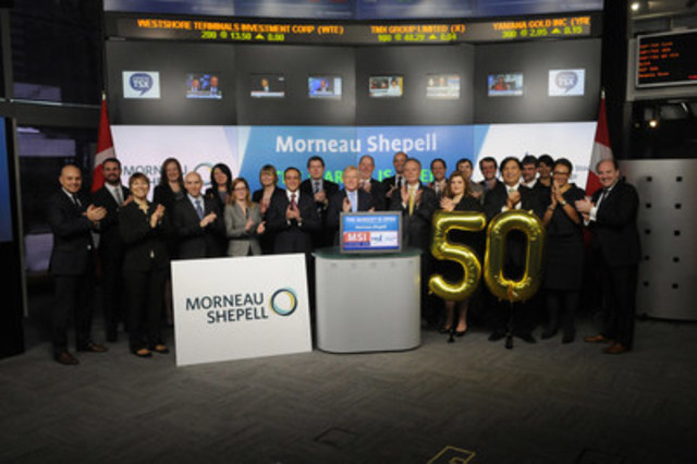 Alan Torrie, Chief Executive Officer, Morneau Shepell (MSI), joined Loui Anastasopoulos, Vice President, TSX Company Services, Toronto Stock Exchange & TSX Venture Exchange to open the market to celebrate 50 years as an organization, and 10 years as a Toronto Stock Exchange listed company. Established in 1966, Morneau Shepell serves more than 20,000 clients across North America, providing them with Employee and Family Assistance Programs, pension and benefits plans, and integrated absence management solutions. Morneau Shepell commenced trading on Toronto Stock Exchange on September 30, 2005. For more information please visit www.morneaushepell.com. (CNW Group/TMX Group Limited)