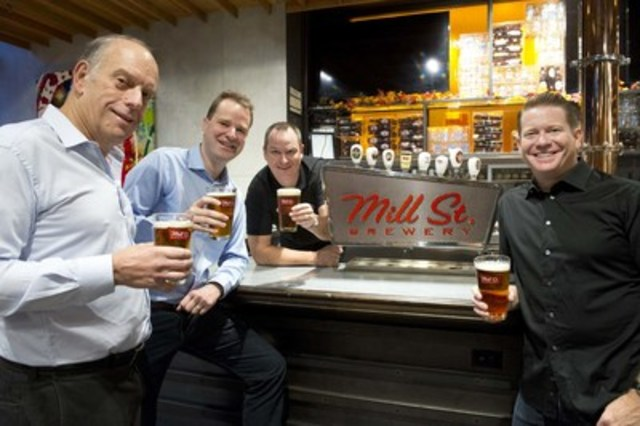 Labatt and Mill Street Brewery announce purchase agreement. From left to right: Irvine Weitzman, Mill Street CEO, Jan Craps, President of Labatt, Joel Manning, Brewmaster at Mill Street, and Steve Abrams, Co-Founder of Mill Street. (CNW Group/Labatt Breweries of Canada)