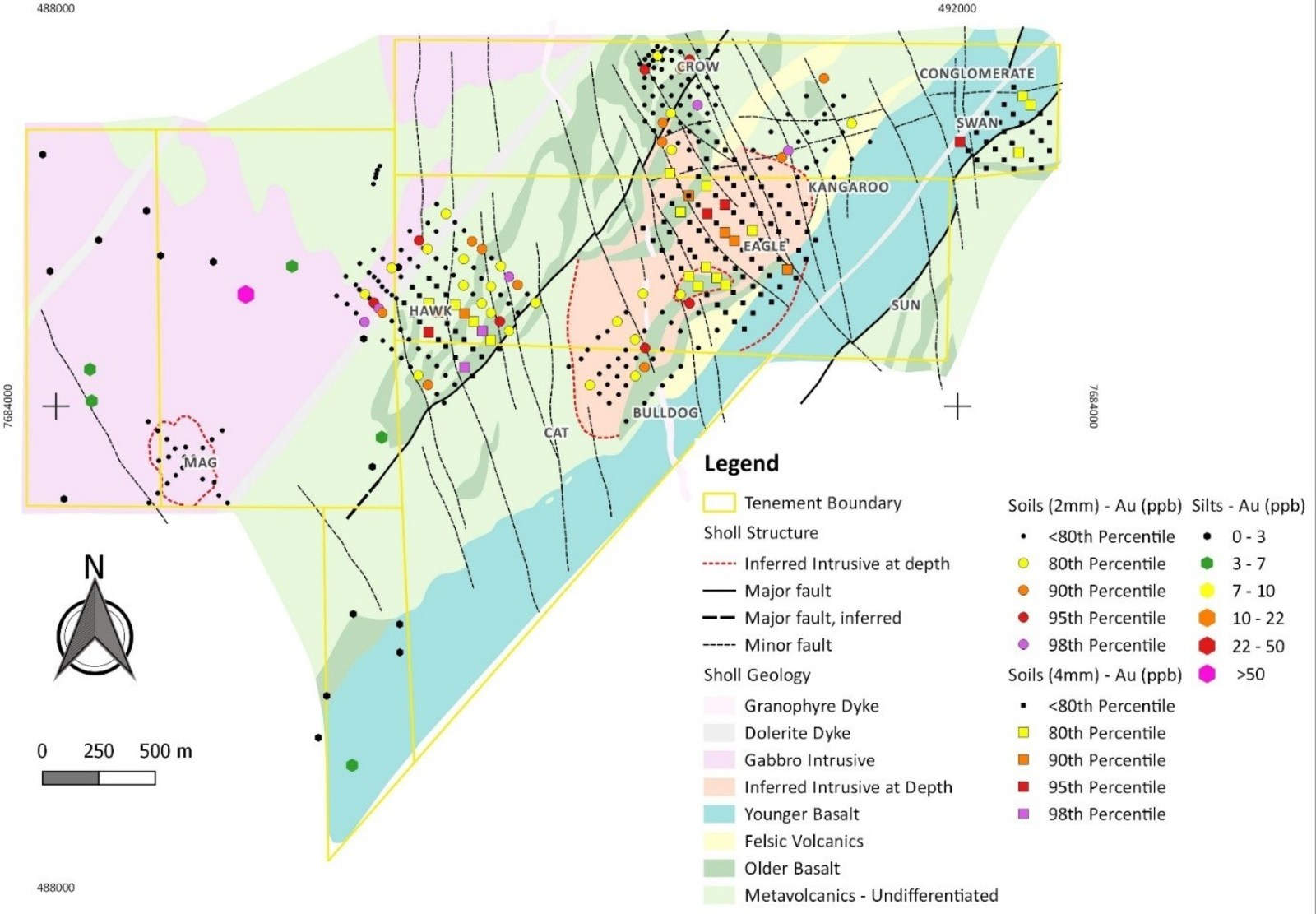 Figure 2: Sholl project area with silt and soil sampling.