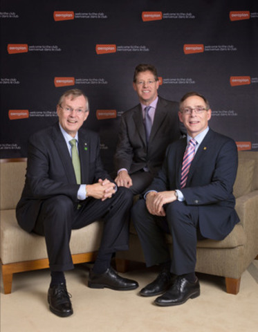 Ed Clark, Group President and CEO, TD Bank Group; Rupert Duchesne, Group Chief Executive, Aimia; and Gerry McCaughey, President and CEO, CIBC; announce the confirmed agreements between TD, Aimia and CIBC regarding Aeroplan-branded Visa credit cards. (CNW Group/CIBC)