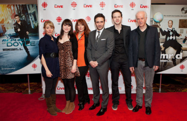 The stars of Republic of Doyle (left to right: Krystin Pellerin, Marthe Bernard, Lynda Boyd, Allan Hawco, Mark O'Brien, Sean McGinley) were in Toronto for a sneak-preview screening of their season three premiere. Republic of Doyle returns to CBC Television Wednesday, Jan. 11 at 9 p.m. ET (9:30 NT). (CNW Group/CBC/RADIO-CANADA)