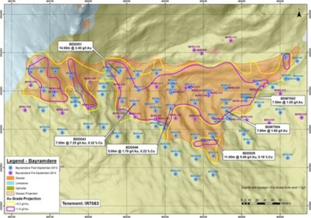 Bayramdere Prospect Plan - showing location of key drilling results from September 1, 2014 to November 18, ...