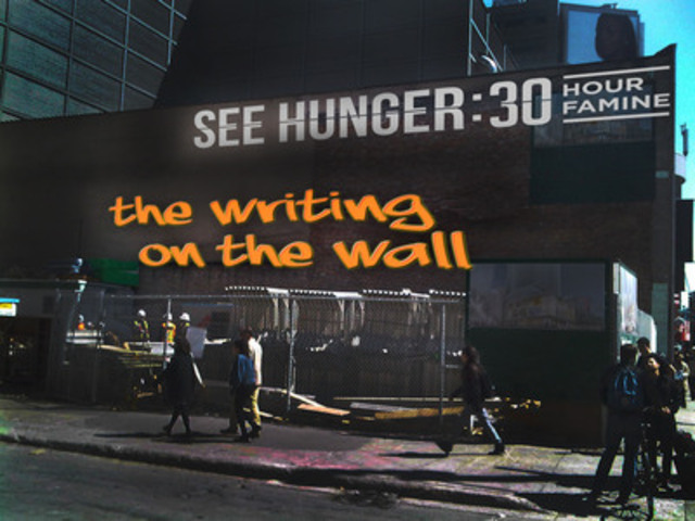 Torontonians to tag the city with messages of hunger for 30 Hour Famine. (CNW Group/World Vision Canada)