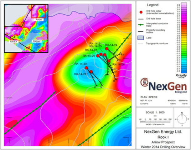 Figure 3: Arrow, drill hole locations (gravity background) (CNW Group/NexGen Energy Ltd.)