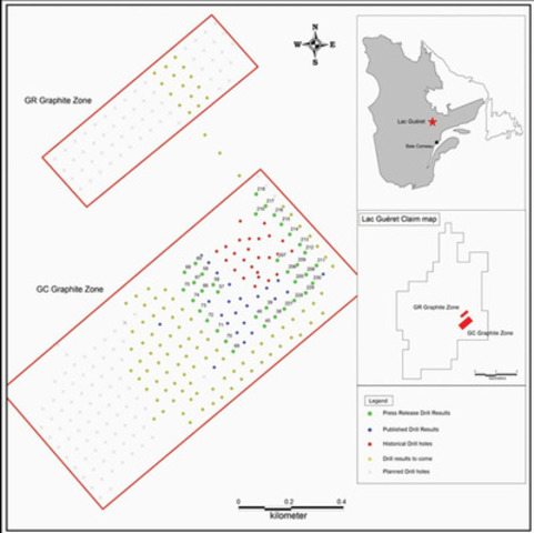 Figure 1 - Plan view with drill hole locations at Lac Guéret (CNW Group/Mason Graphite Inc.)