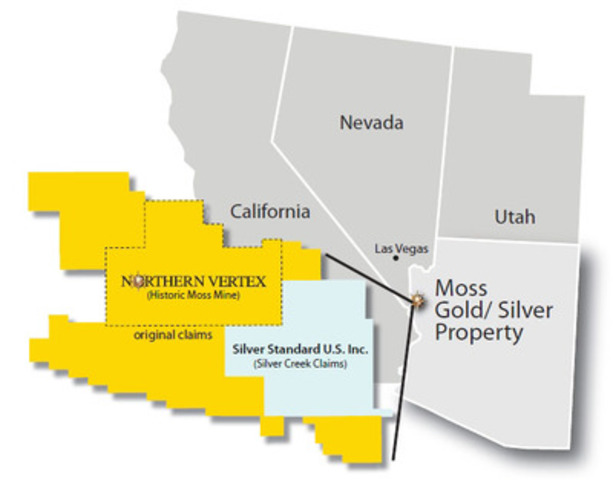 Map of Moss Gold-Silver Property (CNW Group/Northern Vertex Mining Corp.)
