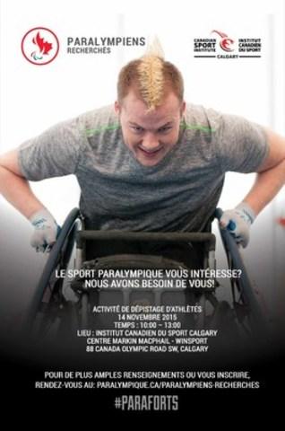 Êtes-vous #PARAFORT? Êtes-vous intéressé à devenir paralympien? Voici votre chance de découvrir ce qu''il faut. Le programme PARALYMPIENS RECHERCHÉS est lancé pour identifier la prochaine génération des athlètes paralympiques canadiens. Calgary organisera la première activité de recrutement des athlètes le 14 novembre.  (Groupe CNW/Comité paralympique canadien (CPC))