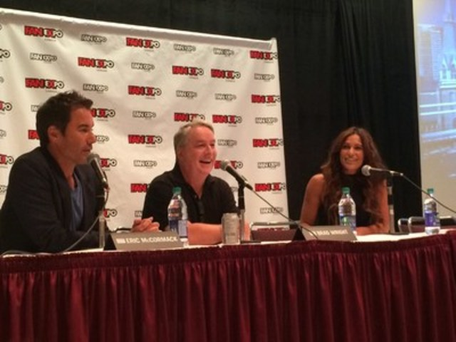 Eric McCormack and Brad Wright at the Q&A panel with ET Canada's Sangita Patel at the world premiere screening of Showcase's series Travelers at Fan Expo Canada. (CNW Group/Corus Entertainment Inc.)