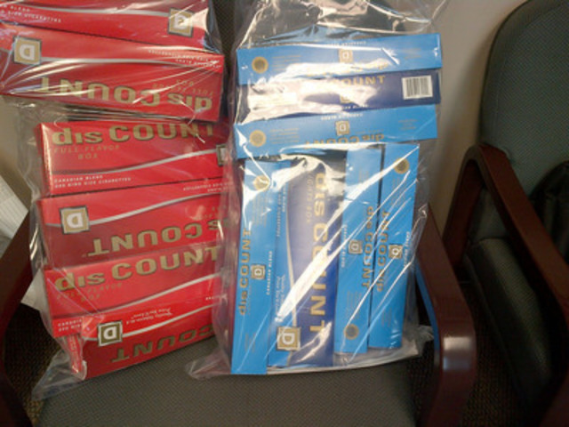 Samples of Discount Carton cigarettes seized during the search (CNW Group/Royal Canadian Mounted Police)