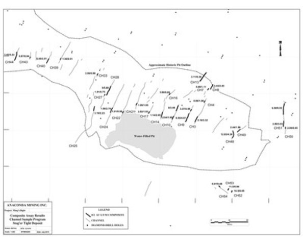 Exhibit B: Stog'er Tight Channel Samples Map (CNW Group/Anaconda Mining Inc.)