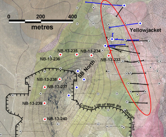 """Figure 1: Location of new reverse circulation drill holes at Sierra Blanca North. Red collars indicate assays reported in Table 1. Blue collars are holes that have been drilled but have assays pending. """"SB North"""" indicates the north ridge of Sierra Blanca. (CNW Group/Corvus Gold Inc.)"""