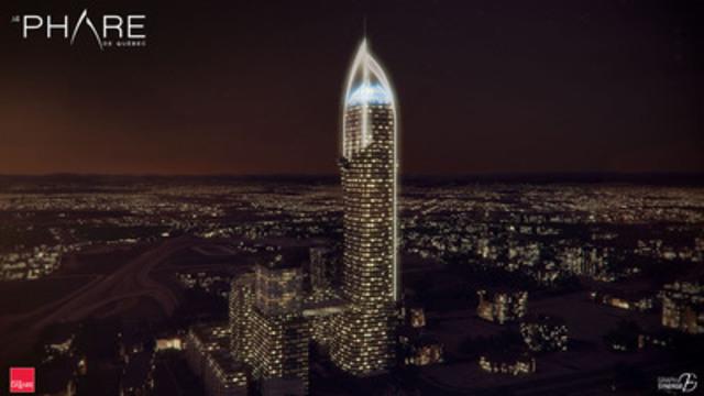 Le Phare de Québec. Un projet d'investissement de 600 millions de dollars de plus de deux millions de pieds carrés à usage mixte, qui comprendra notamment une tour de 65 étages. Celle-ci sera accompagnée à sa base de trois autres tours soeurs comptant chacune entre 25 et 30 étages. (Groupe CNW/Groupe Dallaire inc.)