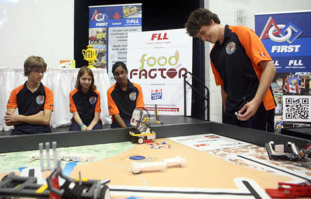 FIRST® LEGO® League 2011 FOOD FACTOR™ Challenge Launch. 2010 World Champions, the Sentinels, showcase their winning robot and share tips with students participating in this year's challenge sponsored by Maple Leaf Foods (CNW Group/FIRST LEGO League)