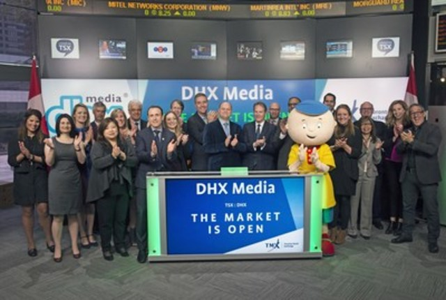 Dana Landry, Chief Executive Officer, DHX Media Ltd. (DHX.A/DHX.B), joined Shaun McIver, Chief Client Officer, Equity Capital Markets, TMX Group, to open the market to celebrate 10 years listed on Toronto Stock Exchange. Based out of Halifax, Nova Scotia,  DHX Media Ltd. is an independent, pure-play kids' content company, recognized globally for such brands as Teletubbies, Yo Gabba Gabba!, Caillou, In the Night Garden, Inspector Gadget, Make It Pop, Slugterra and the Degrassi franchise. DHX Media also owns the full-service international licensing agency, Copyright Promotions Licensing Group Ltd., which represents numerous entertainment, sport and design brands. DHX Media has offices in 15 cities worldwide. DHX Media Ltd. commenced trading on Toronto Stock Exchange on May 18, 2006. (CNW Group/TMX Group Limited)