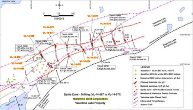Figure 1: Location map of Sprite Zone showing the collar position of new drill holes VL-14-567 to VL-14-577, winter 2014 drill collars, historical drill holes, channel sample intervals, and the mineralized alteration corridor. (CNW Group/Marathon Gold Corporation)