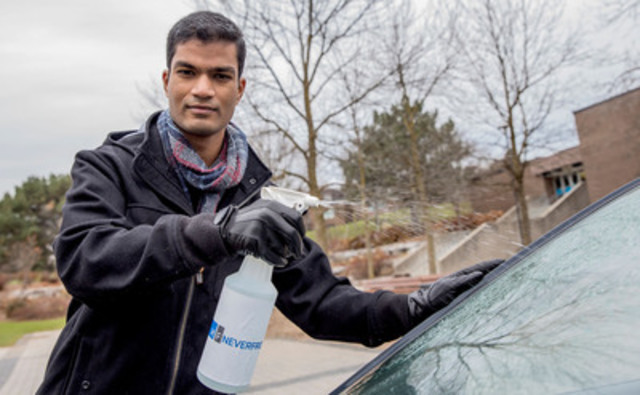 Abhinay Kondamreddy, a nanotechnology engineering graduate from the University of Waterloo, developed Neverfrost along with three classmates. Neverfrost is an environmentally-friendly technology that prevents frost, fog, and ice formation. (CNW Group/University of Waterloo)