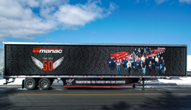 The visual concept pays tribute to our people. We have decaled the names of all Manac employees in the 50th anniversary colours. (CNW Group/Manac Inc.)