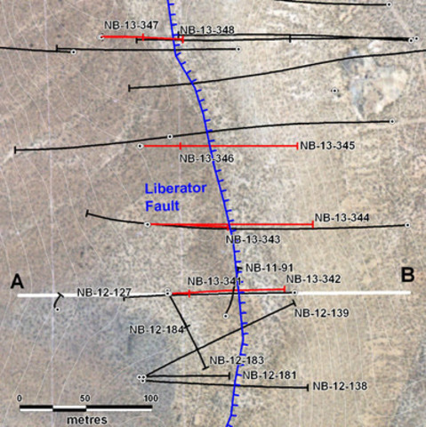 Figure 1: Location of 2013 Yellow Jacket diamond drill holes. Red traces indicate 2013 holes completed to date. Section A-B is shown in Figure 2. For a more general location of Yellow Jacket see Figure 3. (CNW Group/Corvus Gold Inc.)