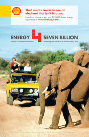 Shell wants Laurie to see an  elephant that isn't in a zoo - Enter for a chance to win your $25,000 dream energy experience at www.shell.ca/E47B (CNW Group/Shell Canada Limited)