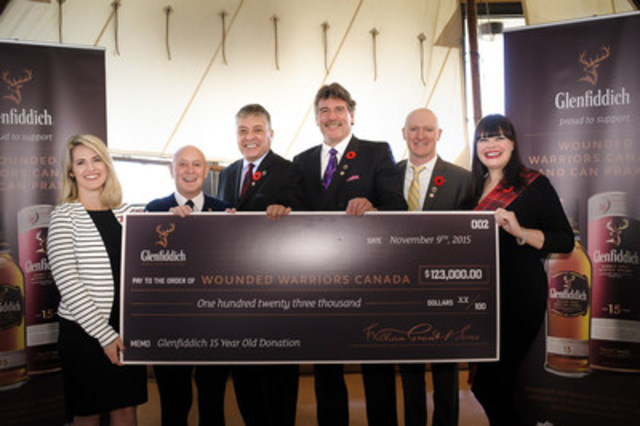 Glenfiddich presents Wounded Warriors Canada with cheque for $123,000 during a charitable presentation at the Maritime Museum of the Atlantic in Halifax, Nova Scotia (Left to Right: Nicole Oliva, Jack Kelly; Phil Ralph, Richard Martin, Scott Maxwell, Elizabeth Havers) (CNW Group/William Grant & Sons Ltd.)