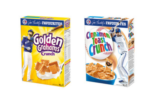 Golden Grahams Crunch  and Cinnamon Toast Crunch featuring Jose Bautista. (CNW Group/General Mills Canada)