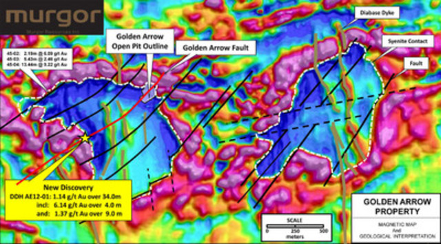 Golden Arrow property - Magnetic map and geological interpretation (CNW Group/Murgor Resources Inc.)