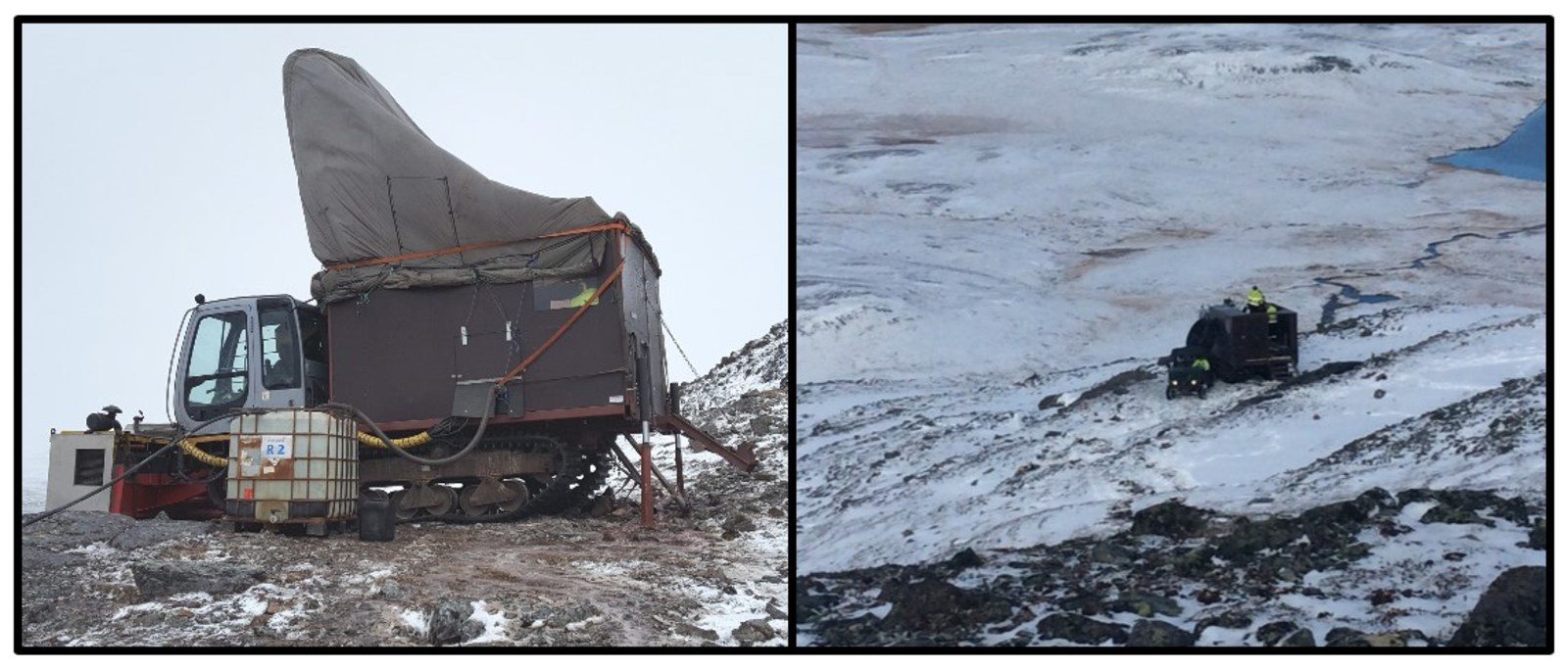 Figure 1. Winterized rig drilling mineralized outcrops at Burfjord.