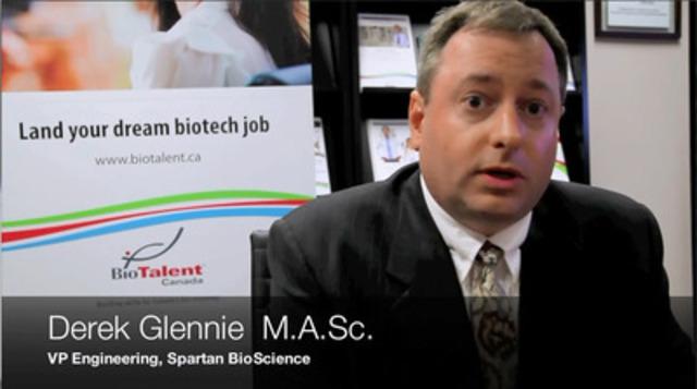 Derek Glennie, vice-président en ingénierie de Spartan Bioscience, l'une des entreprises participantes au programme de subventions salariales Objectif carrière. (Groupe CNW/BioTalent Canada)