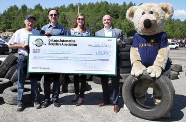 Ontario Tire Stewardship (OTS) and Ontario Automotive Recyclers Association (OARA) present the Sunshine Foundation of Canada with a cheque for $115,876.00 at the Tire Take Back Event, held at Rock City Auto Supplies Ltd. in Sudbury today (CNW Group/Ontario Tire Stewardship)